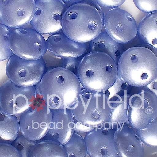 Czech 2-HOLE-LENTIL, 6 mm, Baby Blue Pearl