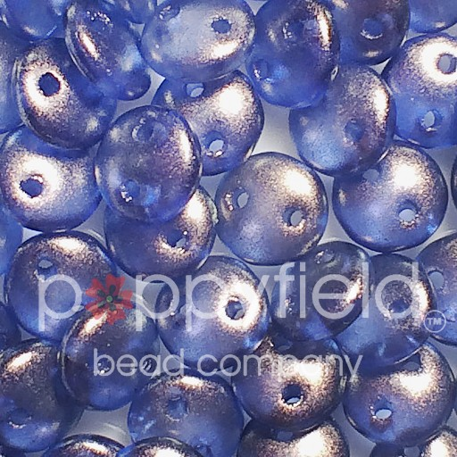 Czech 2-HOLE-LENTIL, 6 mm, Halo Ultramarine