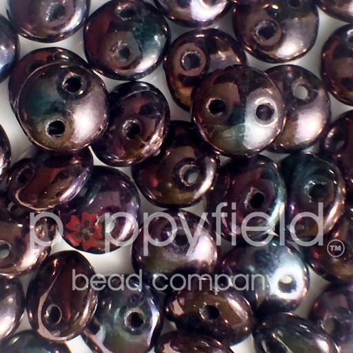Czech 2-HOLE-LENTIL, 6 mm, Luster Metallic Amy,