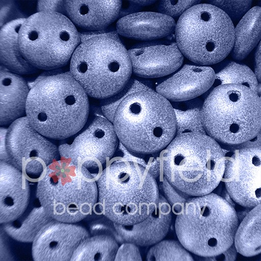 Czech 2-HOLE-LENTIL, 6 mm, Metallic Suede Blue