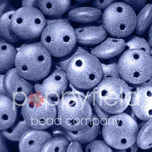 Czech 2-HOLE-LENTIL, 6 mm, Metallic Suede Blue