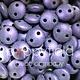 Czech 2-HOLE-LENTIL, 6 mm, Metallic Suede Purple