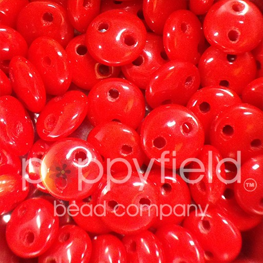 Czech 2-HOLE-LENTIL, 6 mm, Opaque Red