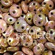 Czech 2-HOLE LENTIL, 6 mm, Luster Opaque Rose/Gold Topaz