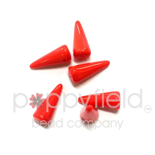 Czech Spikes, 5X13mm, Coral Red, 6pcs