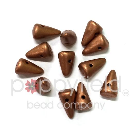 Czech Spikes, 5X8, Matte Copper, 12 pcs
