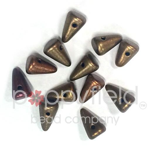Czech Spikes, 5X8, Matte Gold Iris, 12 pcs