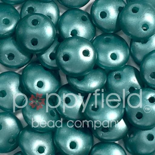 Czech 2-HOLE-LENTIL, 6 mm, Teal Pearl 50pcs