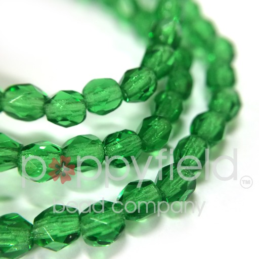 Czech Fire Polish, 3 mm, Green Emerald, 50 pcs
