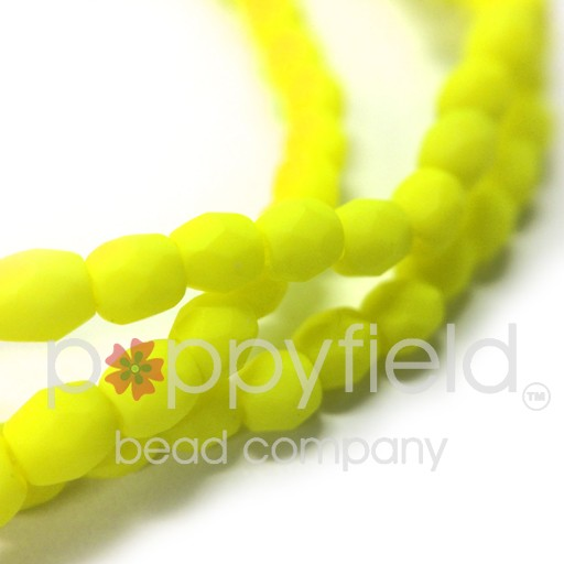 Czech Fire Polish, 3 mm, Neon Yellow, 50 pcs