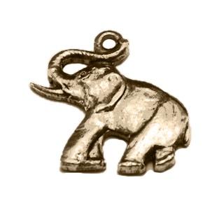Elephant Charm, Brass, 2pcs