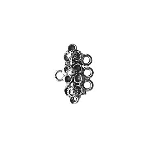 3 Strand Flower End Bar, Pewter