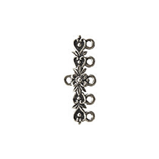 5 Loop Heart Scroll End Bar, Pewter