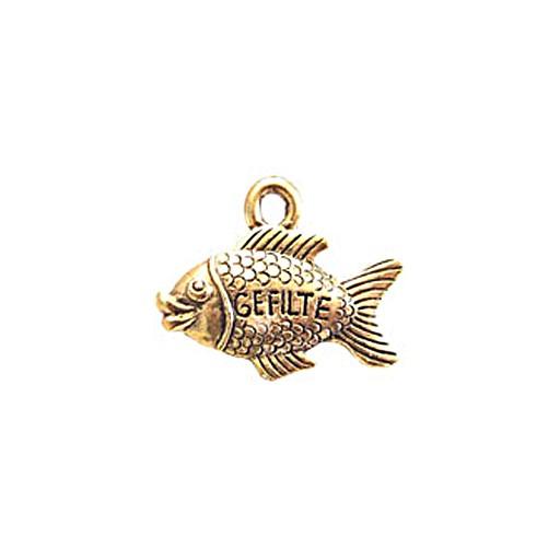 Gefilte Fish Charm, Antique Gold