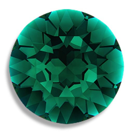 Austrian Swarovski Rivoli(1201), 27 mm = 1.06 in., Emerald
