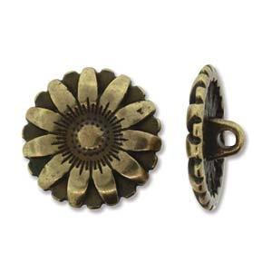 Flower Button, Antique Brass