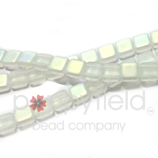Czech 2 Holed Tile Beads, 6 mm, Matte Crystal AB, 25 pcs