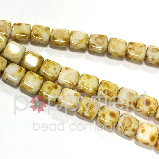 Czech 2 Holed Tile Beads, 6 mm, Alabaster Picasso, 25 pcs