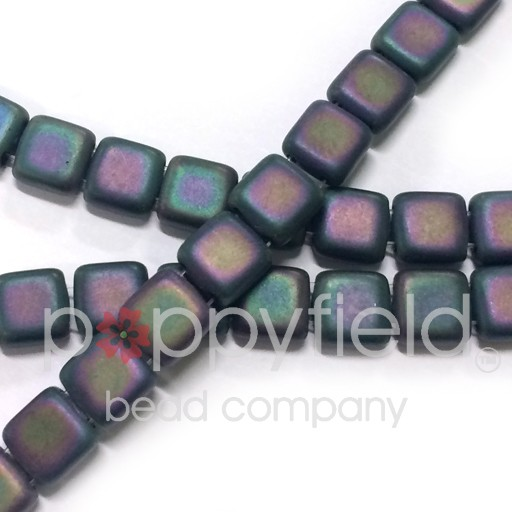 Czech 2 Holed Tile Beads, 6 mm, Matte Iris Purple, 25 pcs