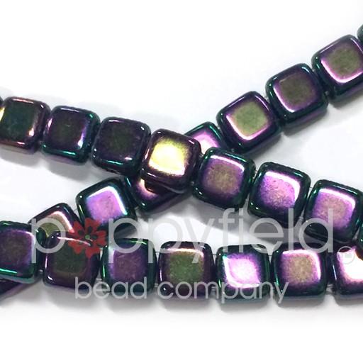 Czech 2 Holed Tile Beads, 6 mm, Iris Purple, 25 pcs