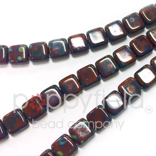 Czech 2 Holed Tile Beads, 6 mm, Picasso Umber, 50 pcs