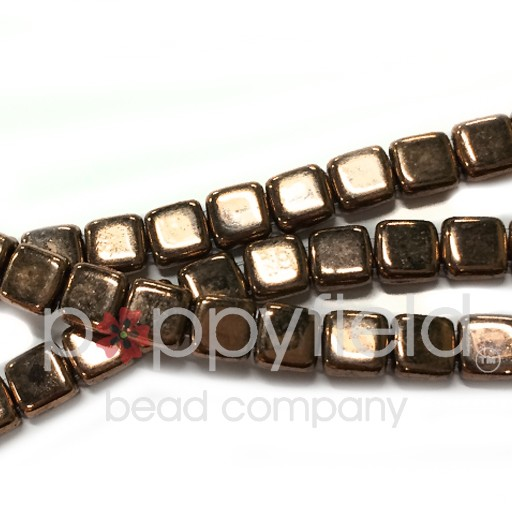 Czech 2 Holed Tile Beads, 6 mm, Bronze, 25 pcs