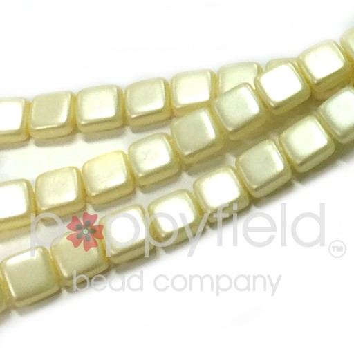 Czech 2 Holed Tile Beads, 6 mm, Cream, 25 pcs