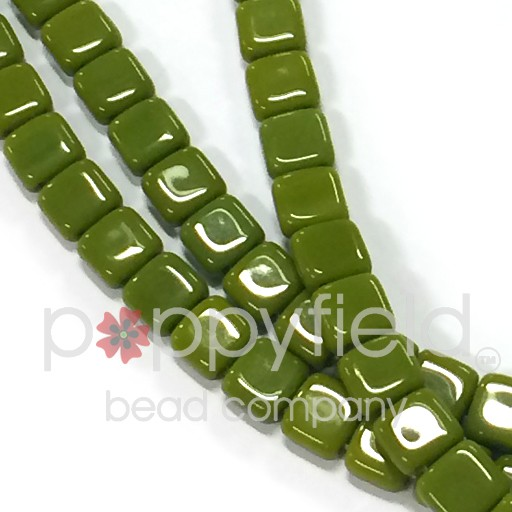 Czech 2 Holed Tile Beads, 6 mm, Opaque Olive, 25 pcs