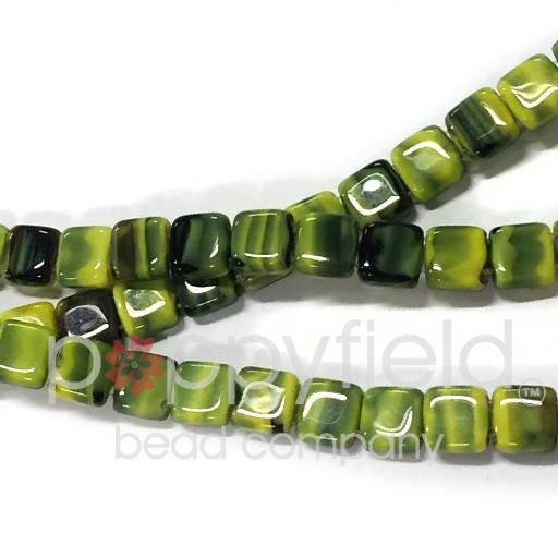 Czech 2 Holed Tile Beads, 6 mm, Opaque Yellow Jet, 25 pcs
