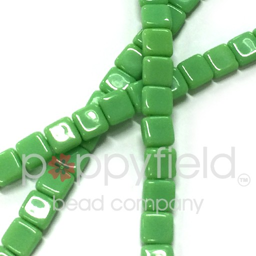 Czech 2 Holed Tile Beads, 6 mm, Opaque Olivine, 25 pcs
