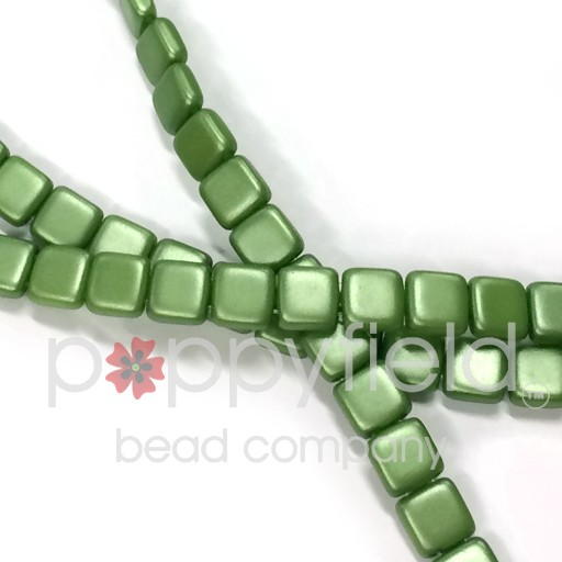 Czech 2 Holed Tile Beads, 6 mm, Opaque Olive Green, 25 pcs