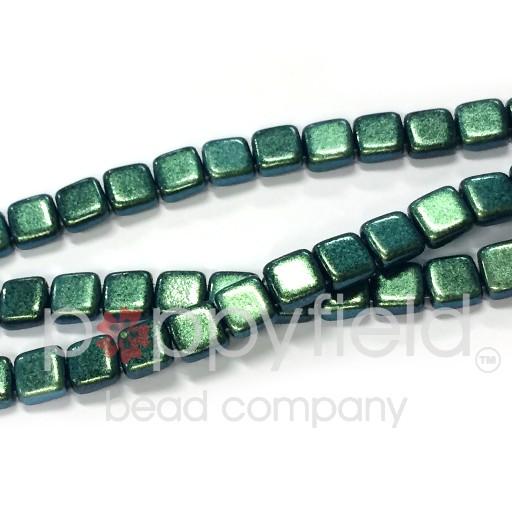 Czech 2 Holed Tile Beads, 6 mm, Polychrome Aqua Teal, 50 pcs