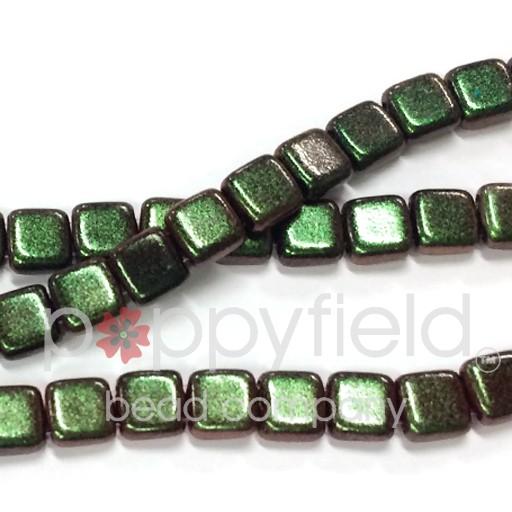 Czech 2 Holed Tile Beads, 6 mm, Polychrome Olive Mauve, 50 pcs