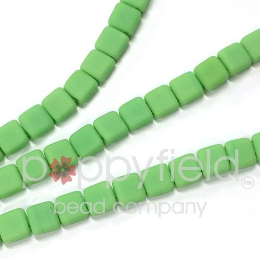 Czech 2 Holed Tile Beads, 6 mm, Honeydew Matte, 50 pcs
