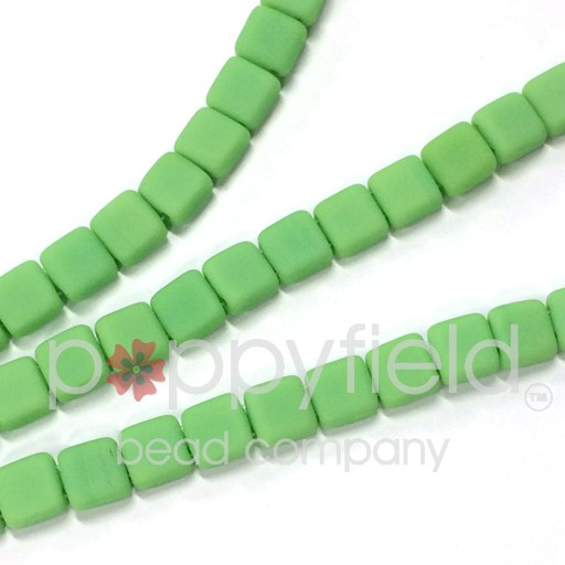 Czech 2 Holed Tile Beads, 6 mm, Matte Honeydew, 25 pcs