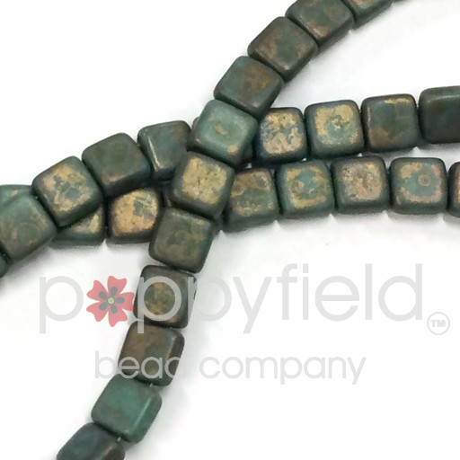 Czech 2 Holed Tile Beads, 6 mm, Copper Picasso Turqoise , 50 pcs