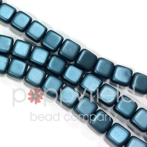 Czech 2 Holed Tile Beads, 6 mm, Pearl Coat Steel Blue, 50 pcs