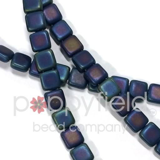 Czech 2 Holed Tile Beads, 6 mm, Matte Iris Blue 50 pcs
