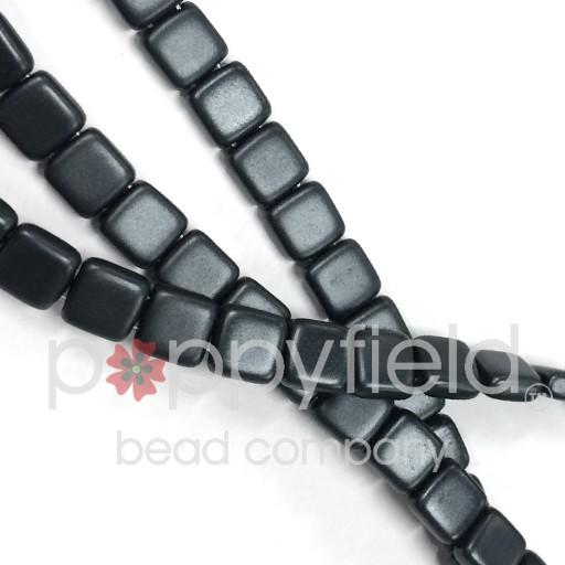 Czech 2 Holed Tile Beads, 6 mm, Pearl Coat Charcoal , 50 pcs