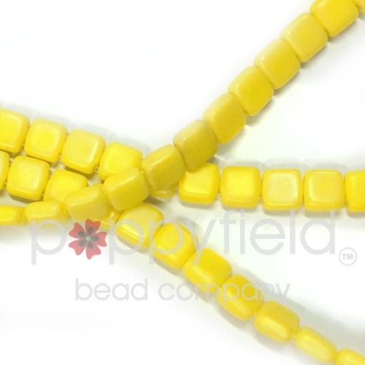 Czech 2 Holed Tile Beads, 6 mm, Matte Luster Iris Custard,50 pcs