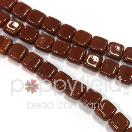 Czech 2 Holed Tile Beads, 6 mm, Umber, 50 pcs