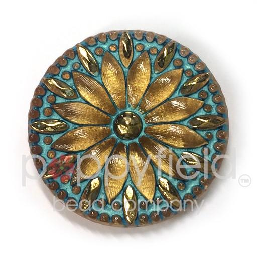 Czech Czech Button, 31 mm, Gold Aqua Flower