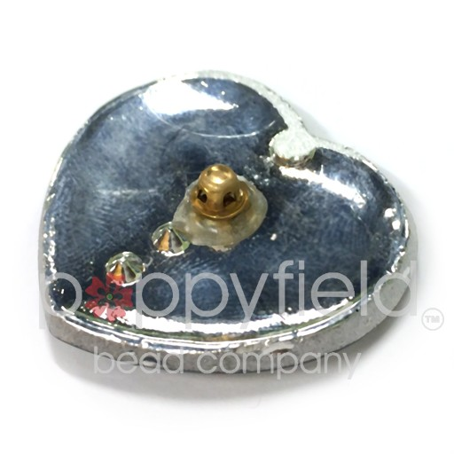 Czech Czech Button, 33 x 35 mm, Aqua Heart