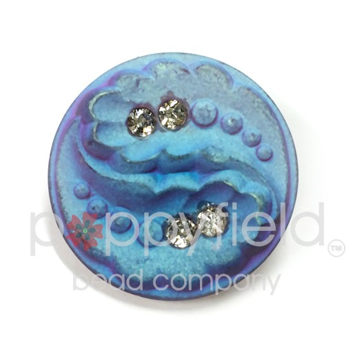 Czech Czech Button, 27 mm, Leaves and Diamonds