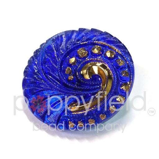 Czech Czech Button, 27 mm, Sapphire Spiral