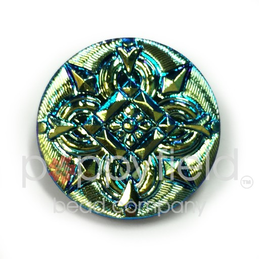 Czech Czech Button, 27 mm, Green Compass