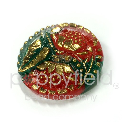 Czech Czech Button, 27 mm, Red Green Flowers