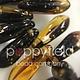 Czech Daggers, 3X11, Amber Picasso (goldtone flecks), 50 pcs