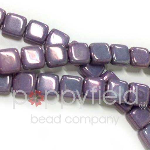 Czech 2 Holled Tile Beads, Luster Opaque Amethyst, 50 pcs