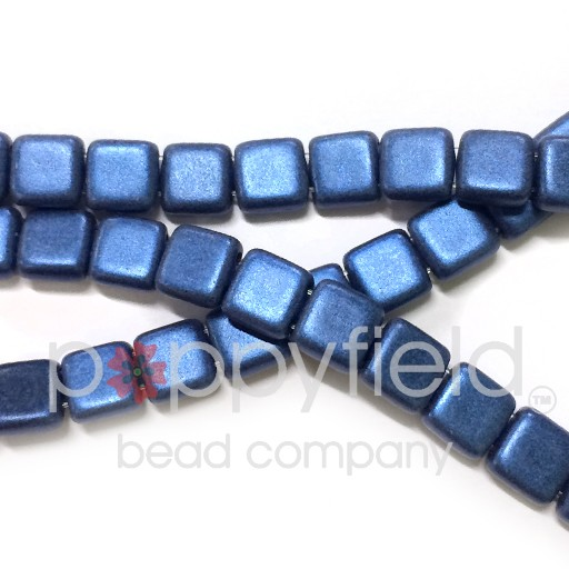 Czech 2 Holed Tile Beads, 6 mm, Metallic Suede Blue, 50 pcs